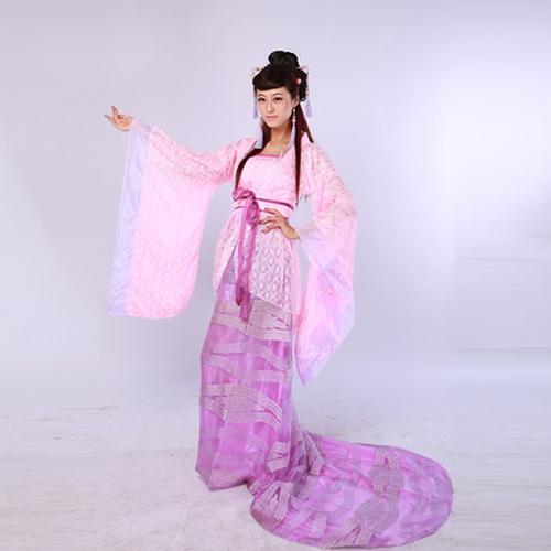 粉色仙女拖尾古装_唐朝贵妃公主服装_舞台古装演出服